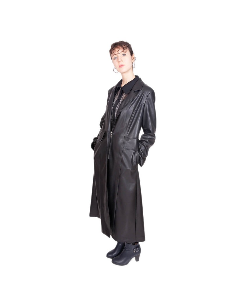 Manteaux Noir Faux Cuir